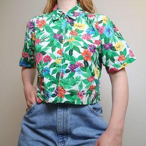 Vintage 90s Liz Claiborne Hawaiian floral top S